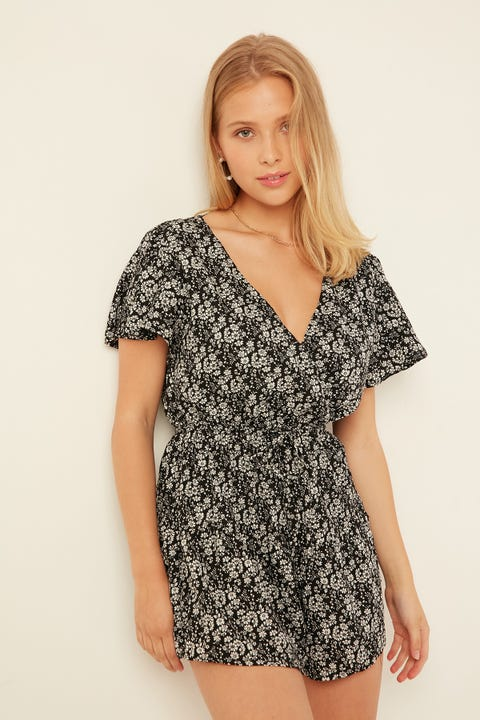 LUCK & TROUBLE Sutherland Playsuit Black