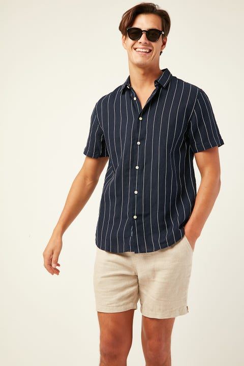 THE ACADEMY BRAND Anaheim Shirt Navy Stripe