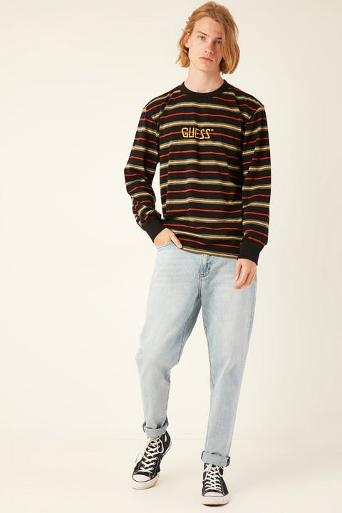 GUESS ORIGINALS LS Go Dean Stripe Logo Crew Terra Orange