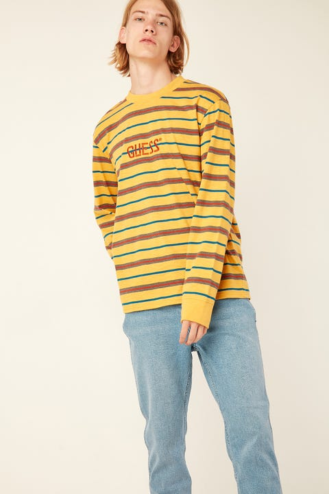 GUESS ORIGINALS LS Go Dean Stripe Logo Crew Baltic Blue Stripe