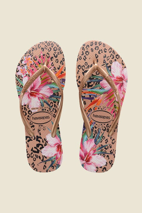 Havaianas Slim Metallic Print Animal Floral Crocus Rose Floral Crocus Rose