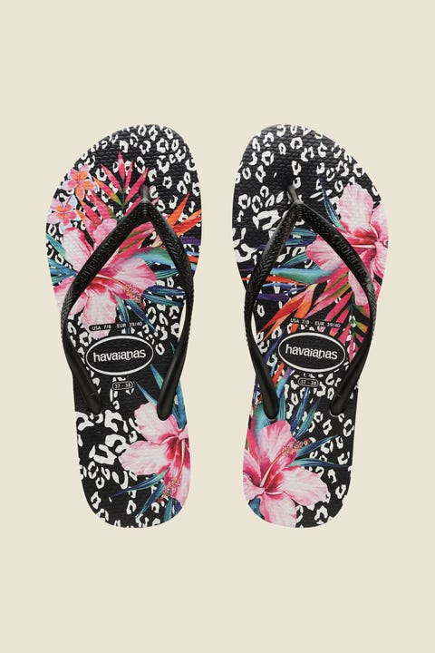Havaianas Slim Metallic Print Animal Floral Black Floral Black