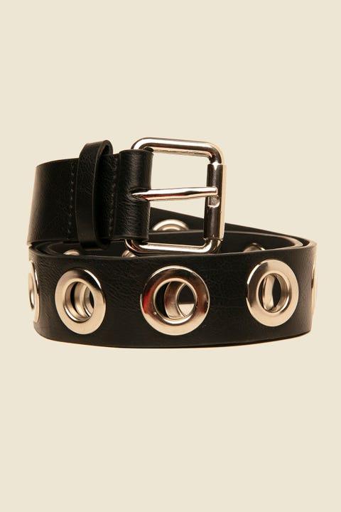 TOKEN Chunky Eyelet Belt Silver