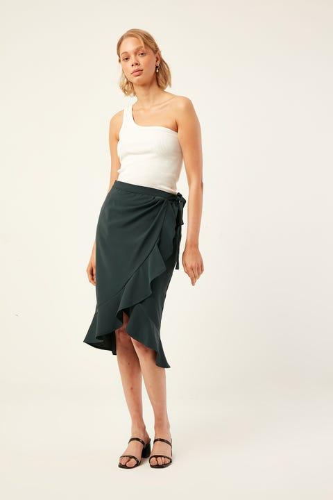 PERFECT STRANGER Frill Wrap Midi Skirt Green