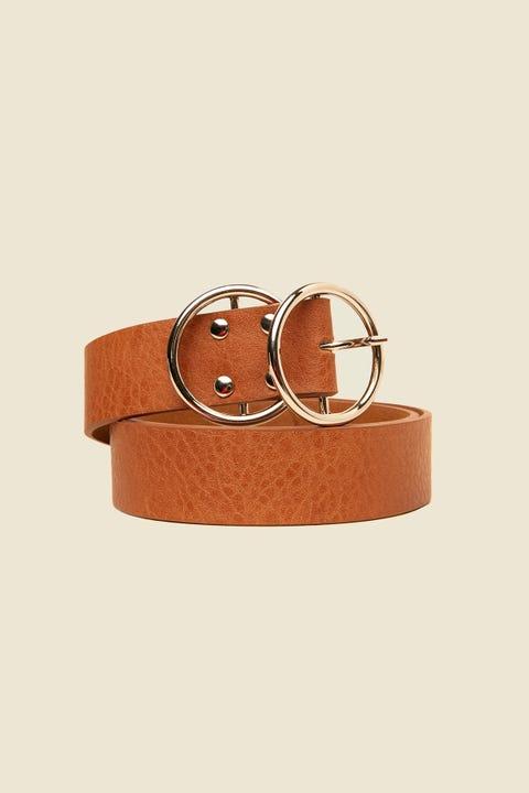 TOKEN Double Hoop Belt Silver/Tan
