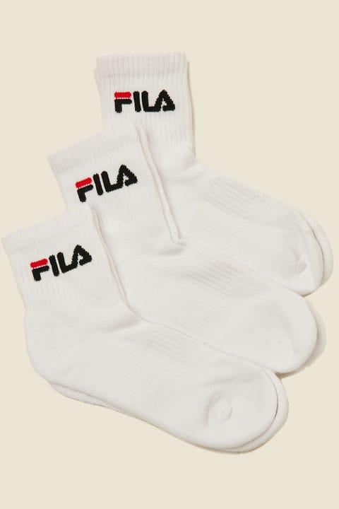 FILA Quarter Cushion Sock 3pk White/Black/Red