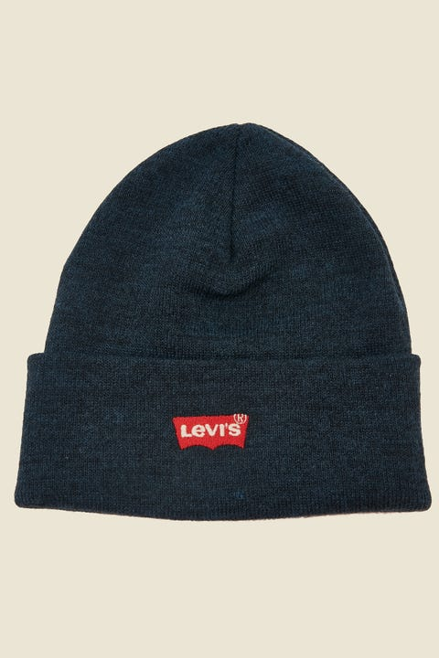 LEVI'S Red Batwing Slouchy Beanie Navy