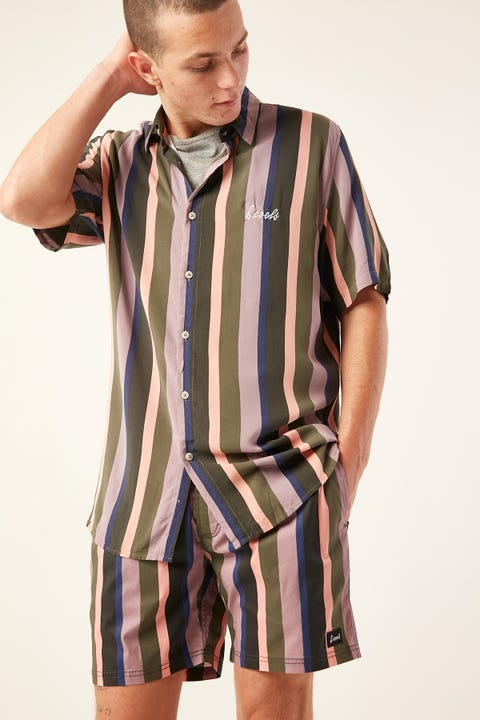 BARNEY COOLS Holiday Short Sleeve Shirt Disco Stripe