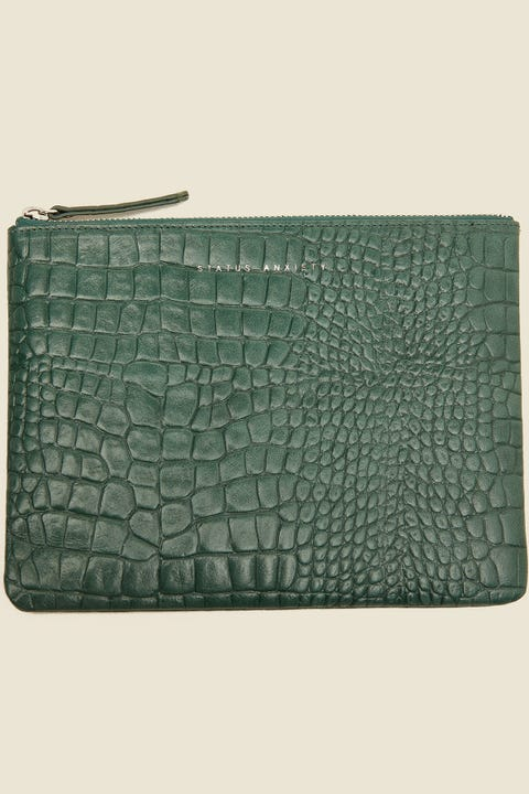 STATUS ANXIETY Fake It Clutch Teal Croc Emboss