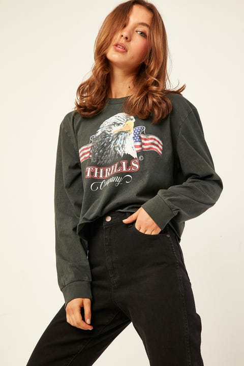 THRILLS Eagle Flag LS Merch Crop Tee Washed Black