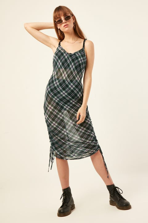 LUCK & TROUBLE Sheer Check Midi Dress Green Check