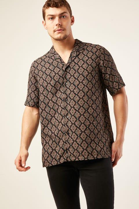 COMMON NEED Orna-Mental Resort Collar Shirt Charcoal/Burgundy