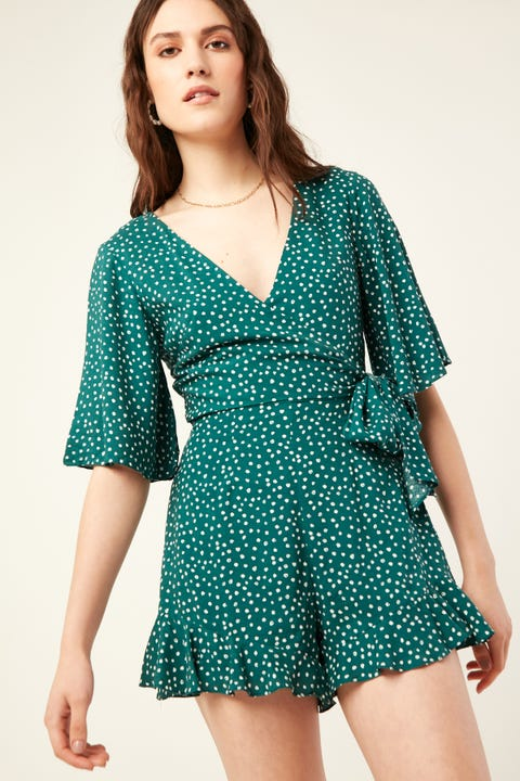 LUCK & TROUBLE Golden Age Playsuit Green Print