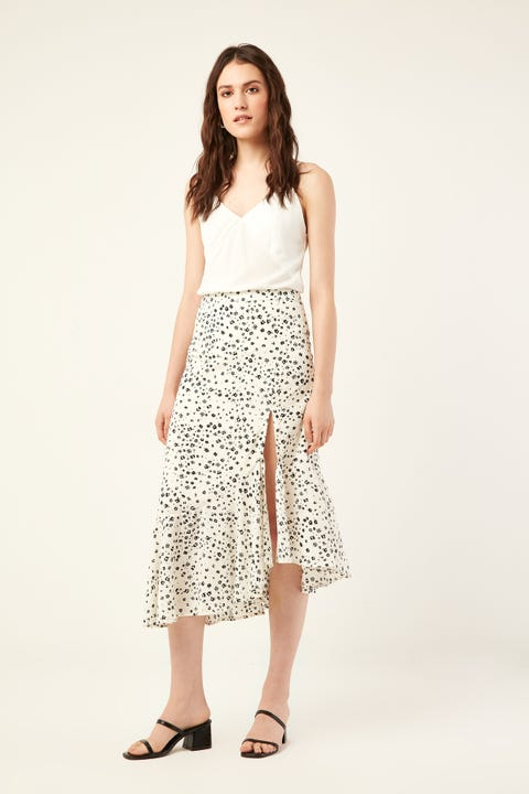PERFECT STRANGER Opulent Frill Midi Skirt White Print