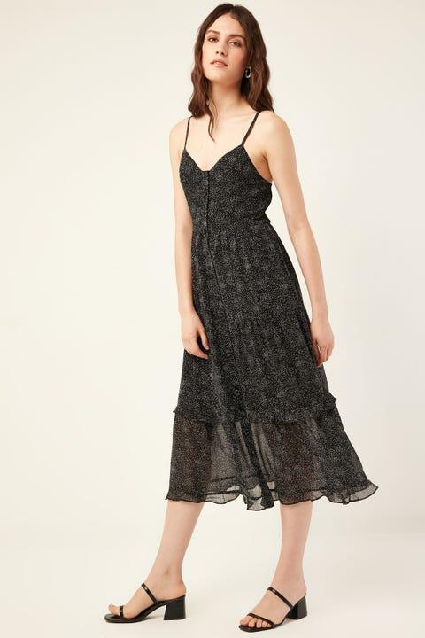 LUCK & TROUBLE Havana Midi Dress Black Print
