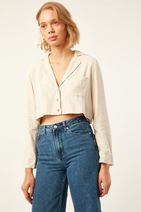 PERFECT STRANGER Extended Vacay Shirt Oatmeal