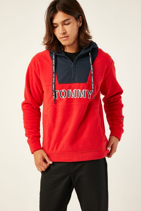 TOMMY JEANS TJM Tommy Logo Zip Hoodie Red/Navy Racing Red/Black Iris