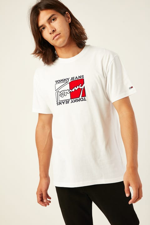 TOMMY JEANS TJM Flag Script Tee Classic White Classic White