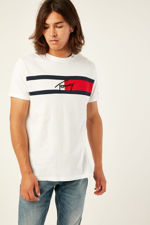 TOMMY JEANS TJM Jacquard Flag Tee Classic White Classic White