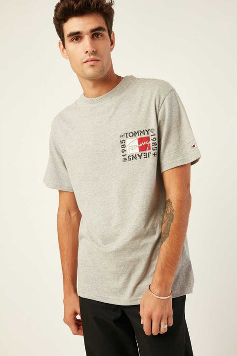 TOMMY JEANS TJM Bubbled Flags Short Sleeve Tee Light Grey Heather