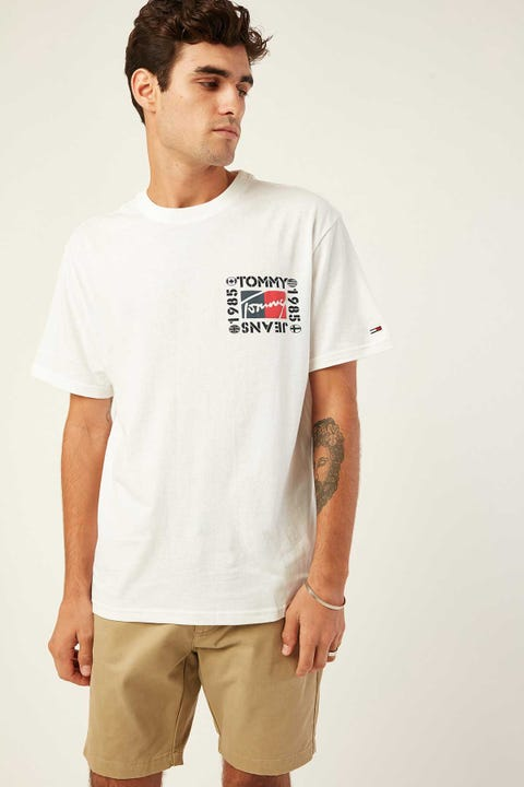 TOMMY JEANS TJM Bubbled Flags Short Sleeve Tee Classic White