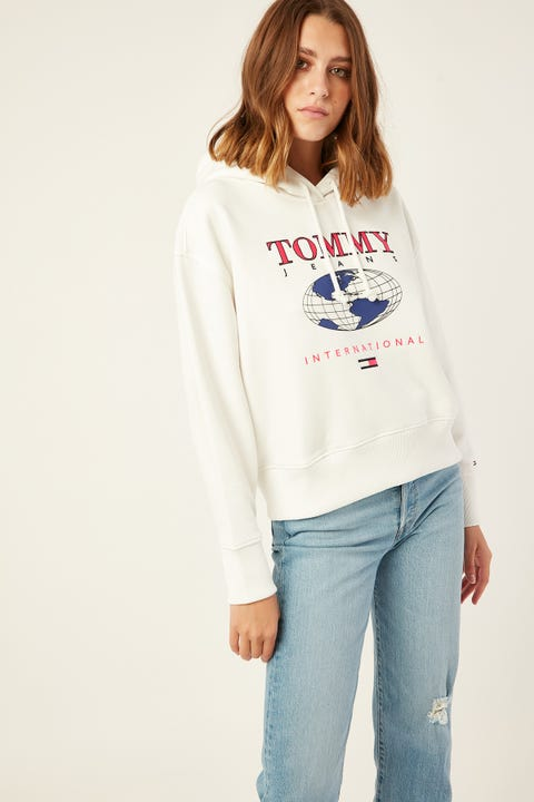 TOMMY JEANS Mountain Logo Hoodie Classic White