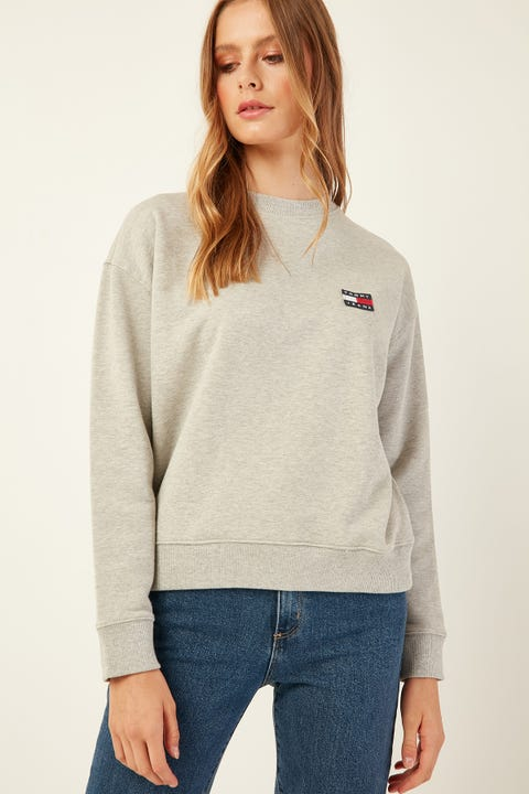 TOMMY JEANS Tommy Badge Crew Lt Grey Htr