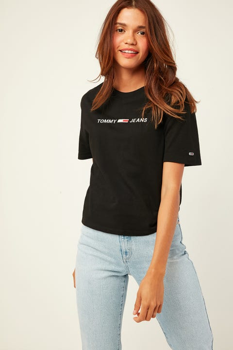 TOMMY JEANS Linear Logo Detail Tee Tommy Black