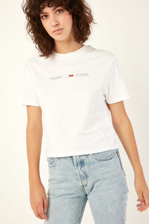TOMMY JEANS Linear Logo Detail Tee Classic White