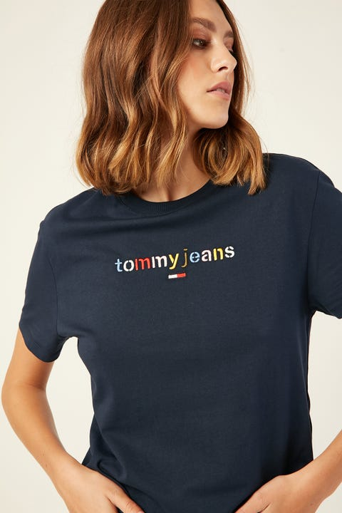 TOMMY JEANS Multicolor Logo Tee Black Iris Navy