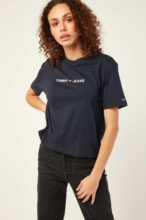 TOMMY JEANS Linear Logo Detail Tee Black Iris