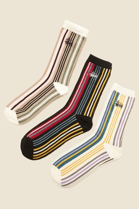 STUSSY Double Stripe Sock 3 Pack Multi