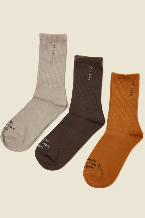 THRILLS Minimal Sock 3 Pack Merch Black/Peyote/Sunlight Yellow