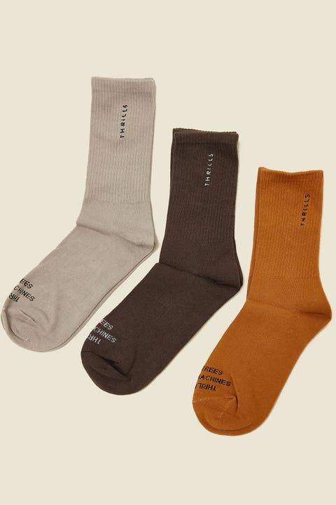 Thrills Minimal Sock 3 Pack Merch Black/Peyote/Sunlight Yellow