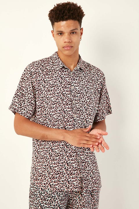 BARNEY COOLS Holiday SS Shirt White Leopard