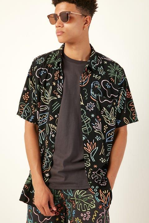 BARNEY COOLS Holiday SS Shirt Black Tropics