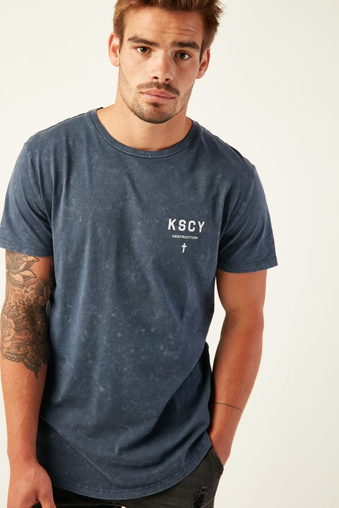 KISS CHACEY Destruction Baseball Tee Acid Navy