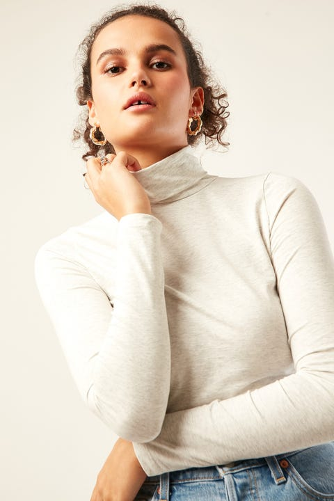 PARE BASIC Essential Turtle Neck Top Snow Marle