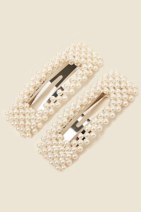 TOKEN Rectangle Pearl Clip White