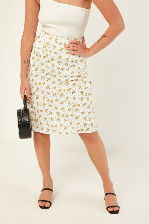 Perfect Stranger Midi Slip Skirt White Print