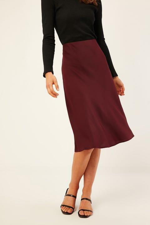 PERFECT STRANGER Midi Slip Skirt Burgundy