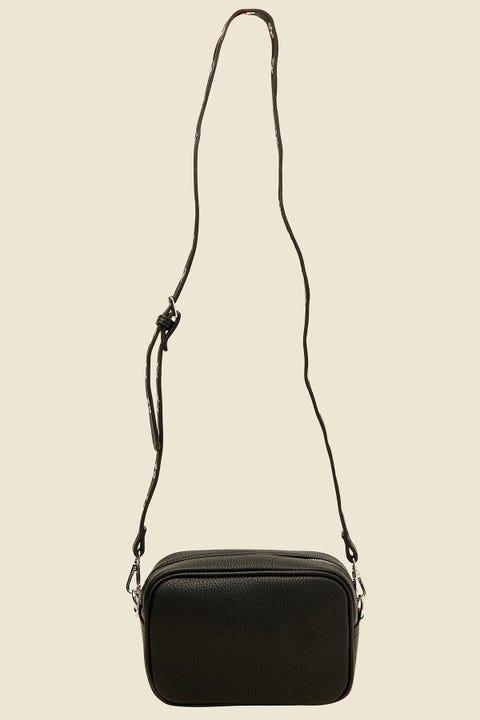 TOKEN Eyelet Strap Shoulder Handbag Black