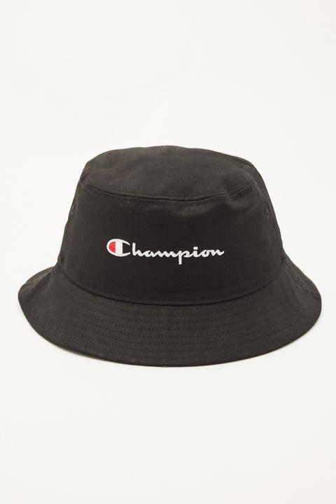 Champion Twill Script Bucket Hat Black/White