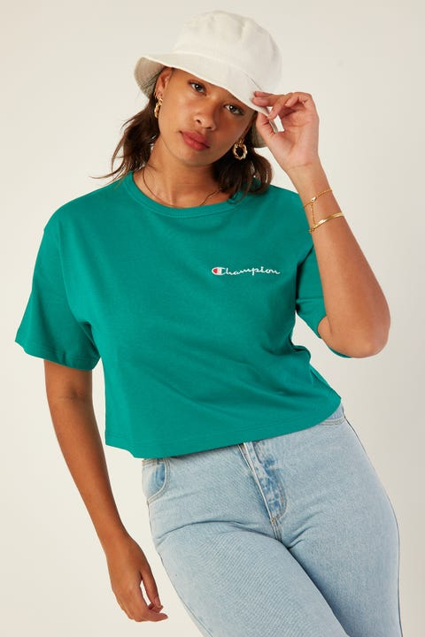 Champion Heritage Crop Tee Capri Seas Green