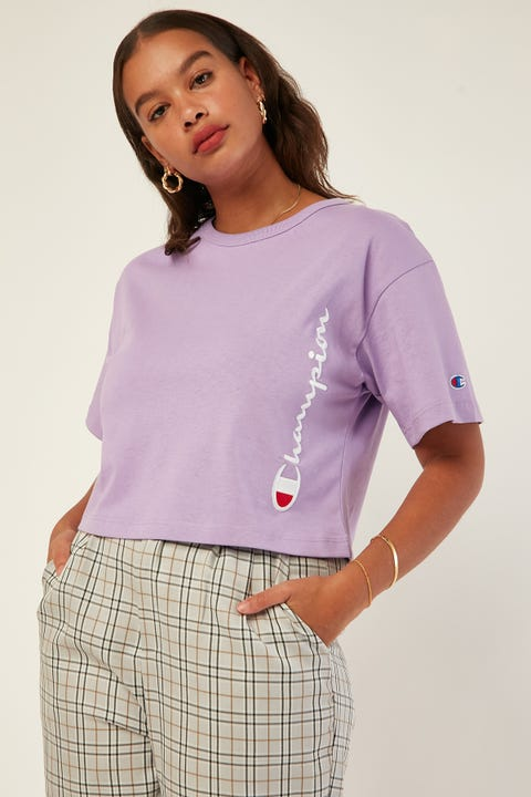 Champion Heritage Crop Tee Script Purple Shell