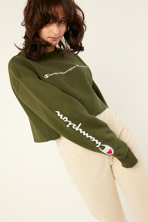Champion Reverse Weave Cropped Crew Prep Green
