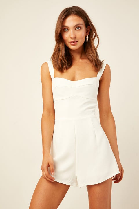 PERFECT STRANGER Parisienne Playsuit White