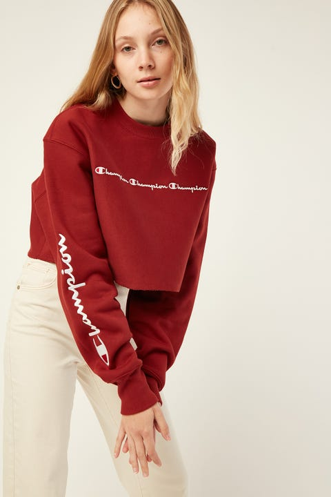 Champion Cropped Crew W Script Tangiers