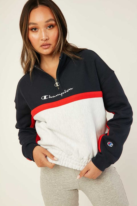 Champion Quarter Zip Crew Navy/ Red Flame/ Silver Grey