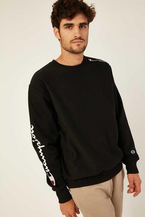 Champion Reverse Weave Crew with Script Black